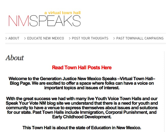New Mexico Speaks Virtual Town Hall [Blog] – Generation Justice